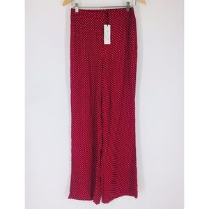 SAGE The Label Red White Polka Dot Wide Leg Pants